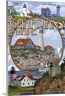 Guardians of Maine (Portland Head Lighthouse Center): Retro Travel Poster