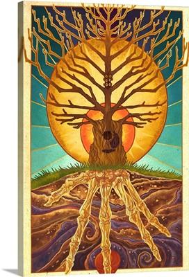 Guitar Tree: Retro Travel Poster