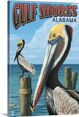 Gulf Shores, Alabama - Brown Pelican: Retro Travel Poster