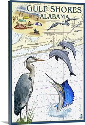 Gulf Shores, Alabama - Nautical Chart: Retro Travel Poster