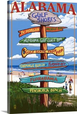 Gulf Shores, Alabama - Sign Destinations: Retro Travel Poster