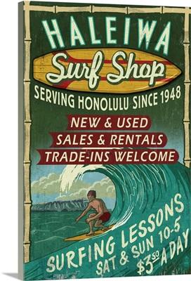 Haleiwa, Hawaii, Surf Shop Vintage Sign (Honolulu Version)