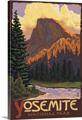 Half Dome Yosemite: Retro Travel Poster