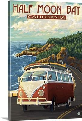 Half Moon Bay, California, Highway One Coast VW Van
