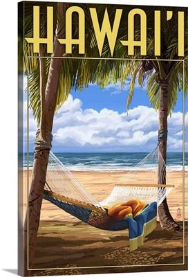 Hammock Scene - Hawaii: Retro Travel Poster