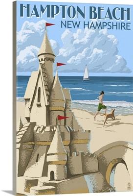 Hampton Beach, New Hampshire - Sand Castle: Retro Travel Poster