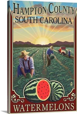 Hampton County, South Carolina - Watermelon Field: Retro Travel Poster