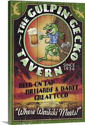Hawaii - Gulpin' Gecko Tavern Vintage Sign: Retro Travel Poster