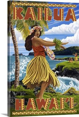 Hawaii Hula Girl on Coast - Kailua, Hawaii: Retro Travel Poster