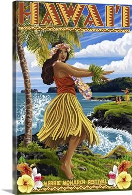 Hawaii Hula Girl on Coast - Merrie Monarch Festival: Retro Travel Poster