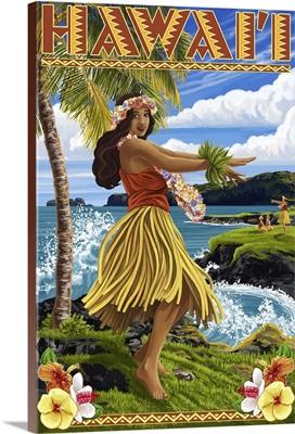 Hawaii Hula Girl on Coast: Retro Travel Poster