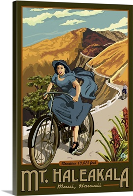 Hawaii - Mount Haleakala Bicycle: Retro Travel Poster