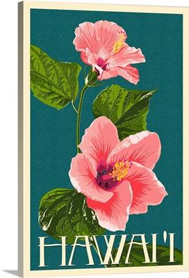 Hawaii - Pink Hibiscus Flower Letterpress: Retro Travel Poster