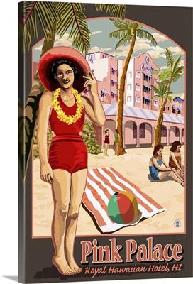 Hawaii - Royal Hawaiian Hotel: Retro Travel Poster