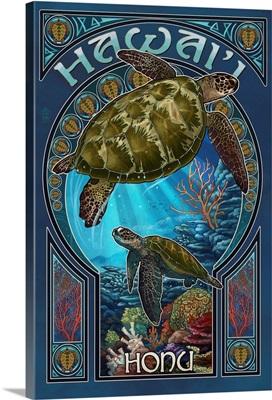 Hawaii - Sea Turtle Art Nouveau: Retro Travel Poster