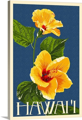 Hawaii - Yellow Hibiscus Flower Letterpress: Retro Travel Poster