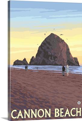 Haystack Rock - Cannon Beach, OR: Retro Travel Poster