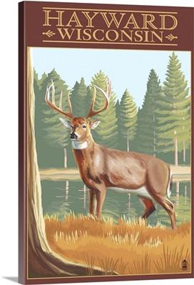 Hayward, Wisconsin - White Tailed Deer: Retro Travel Poster