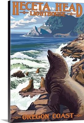 Heceta Head Lighthouse - Sea Lions: Retro Travel Poster