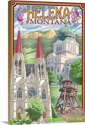 Helena, Montana - Town Views: Retro Travel Poster