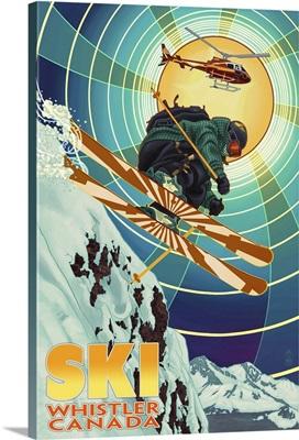 Heli-Skiing - Whistler, Canada: Retro Travel Poster