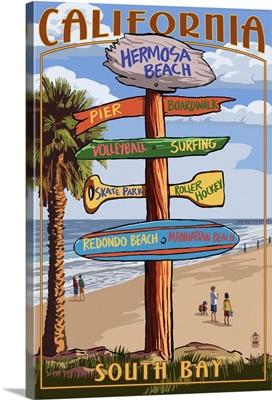 Hermosa Beach, California - Destination Sign: Retro Travel Poster