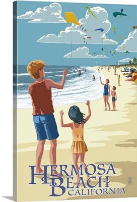 Hermosa Beach, California - Kite Flyers: Retro Travel Poster