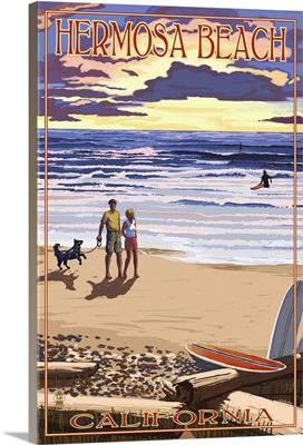 Hermosa Beach, California - Sunset Beach Scene: Retro Travel Poster