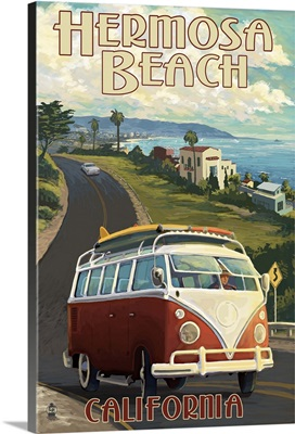 Hermosa Beach, California - VW Van Cruise: Retro Travel Poster