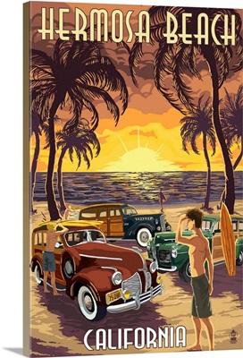 Hermosa Beach, California - Woodies and Sunset: Retro Travel Poster
