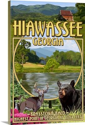 Hiawassee, Georgia - Montage Scenes: Retro Travel Poster