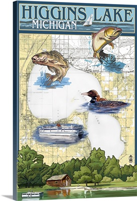 Higgins Lake, Michigan - Lake Chart: Retro Travel Poster