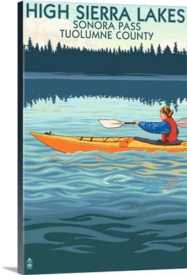 High Sierra Lakes, Sonora Pass, Tuolumne County, California, Kayak Scene
