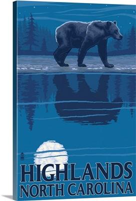 Highlands, North Carolina - Bear at Night: Retro Travel Poster