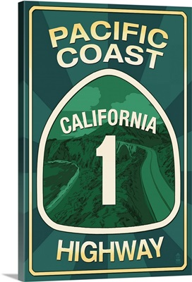 Highway 1, California - Pacific Coast Highway Sign: Retro Travel Poster