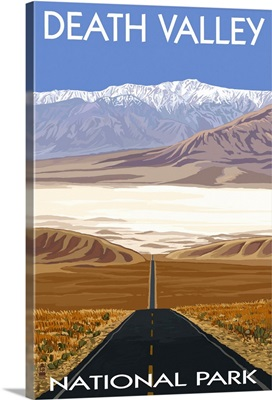 Highway View - Death Valley National Park: Retro Travel Poster