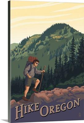 Hike Oregon: Retro Travel Poster