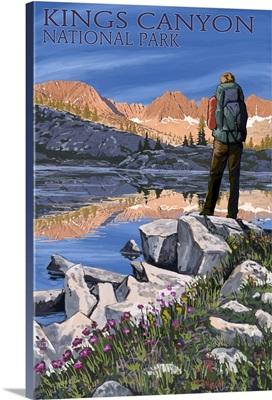 Hiker and Lake - Kings Canyon National Park, California: Retro Travel Poster