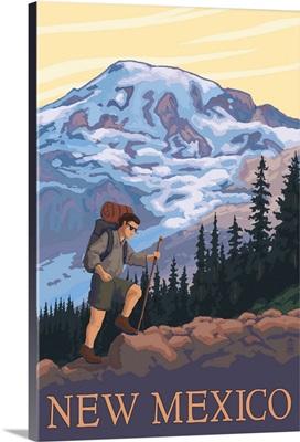 Hiking Scene - New Mexico: Retro Travel Poster