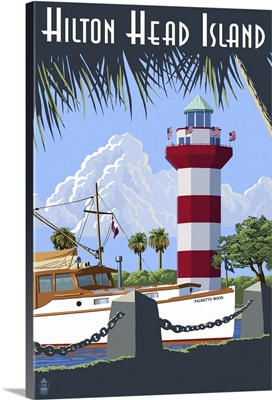Hilton Head Island, SC - Harbour Town Lighthouse: Retro Travel Poster