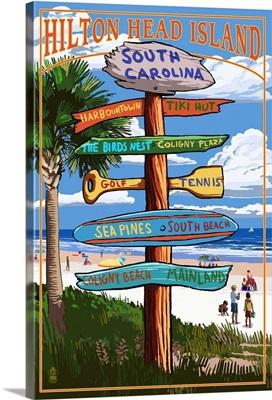 Hilton Head Island, South Carolina - Destination Signs: Retro Travel Poster