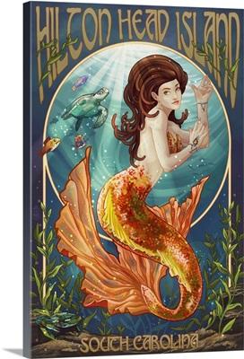 Hilton Head Island, South Carolina - Mermaid: Retro Travel Poster