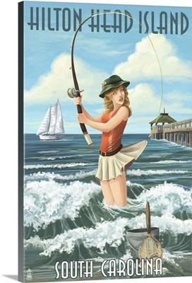 Hilton Head Island, South Carolina - Pinup Surfer Fishing: Retro Travel Poster