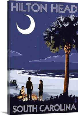 Hilton Head, South Carolina - Beach and Bonfire: Retro Travel Poster
