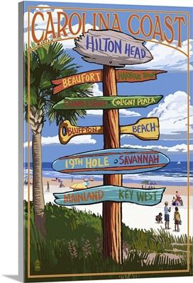 Hilton Head, South Carolina - Destination Signs: Retro Travel Poster