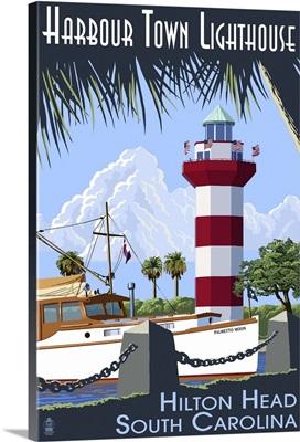 Hilton Head, South Carolina - Harbour Town Lighthouse: Retro Travel Poster