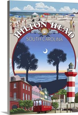 Hilton Head, South Carolina - Montage: Retro Travel Poster