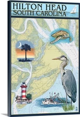 Hilton Head, South Carolina - Nautical Chart: Retro Travel Poster