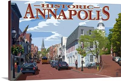 Historic Annapolis, Maryland Street View: Retro Travel Poster