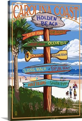 Holden Beach, North Carolina - Destination Sign: Retro Travel Poster